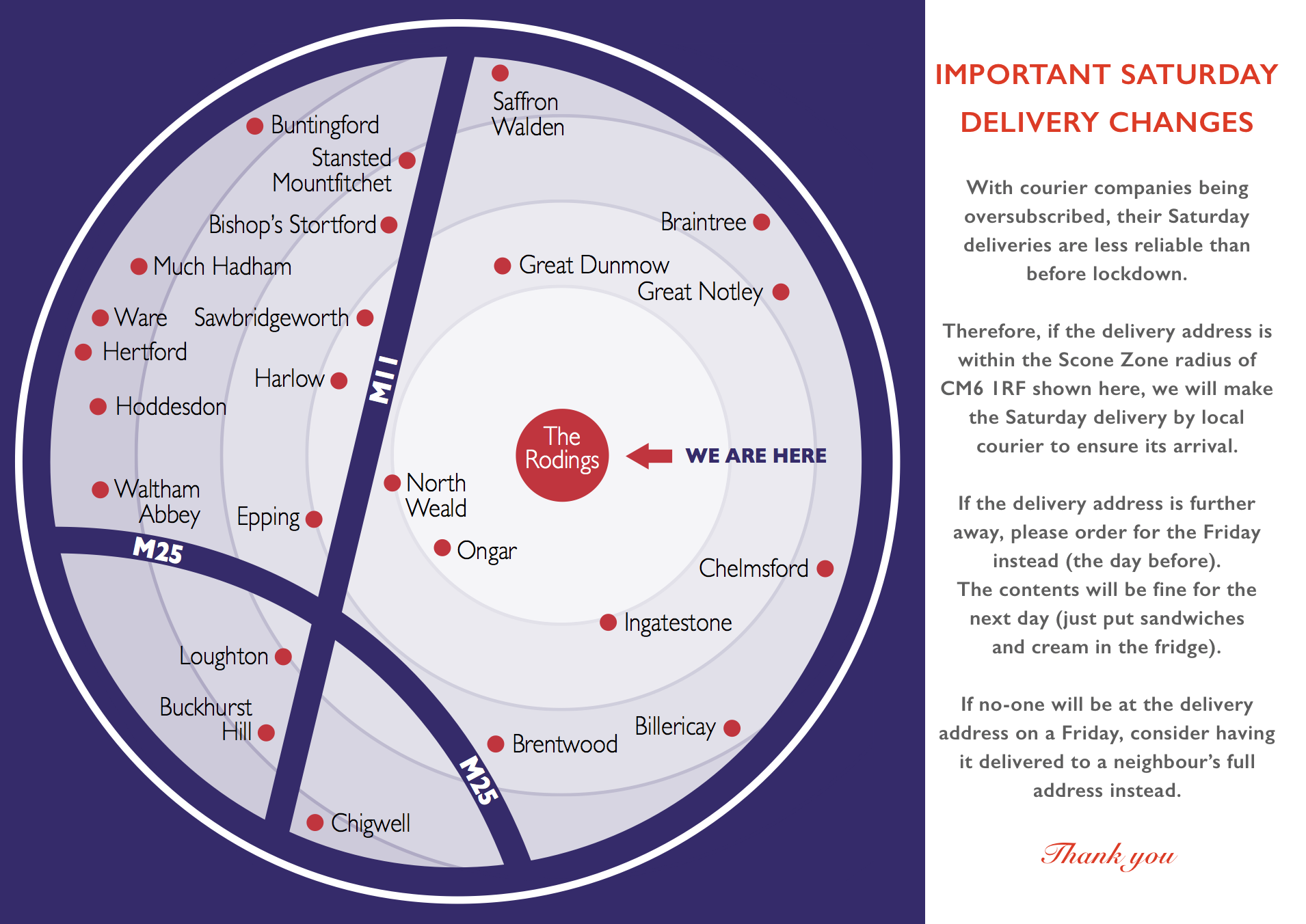Map showing Saturday delivery area for The English Cream Tea Co