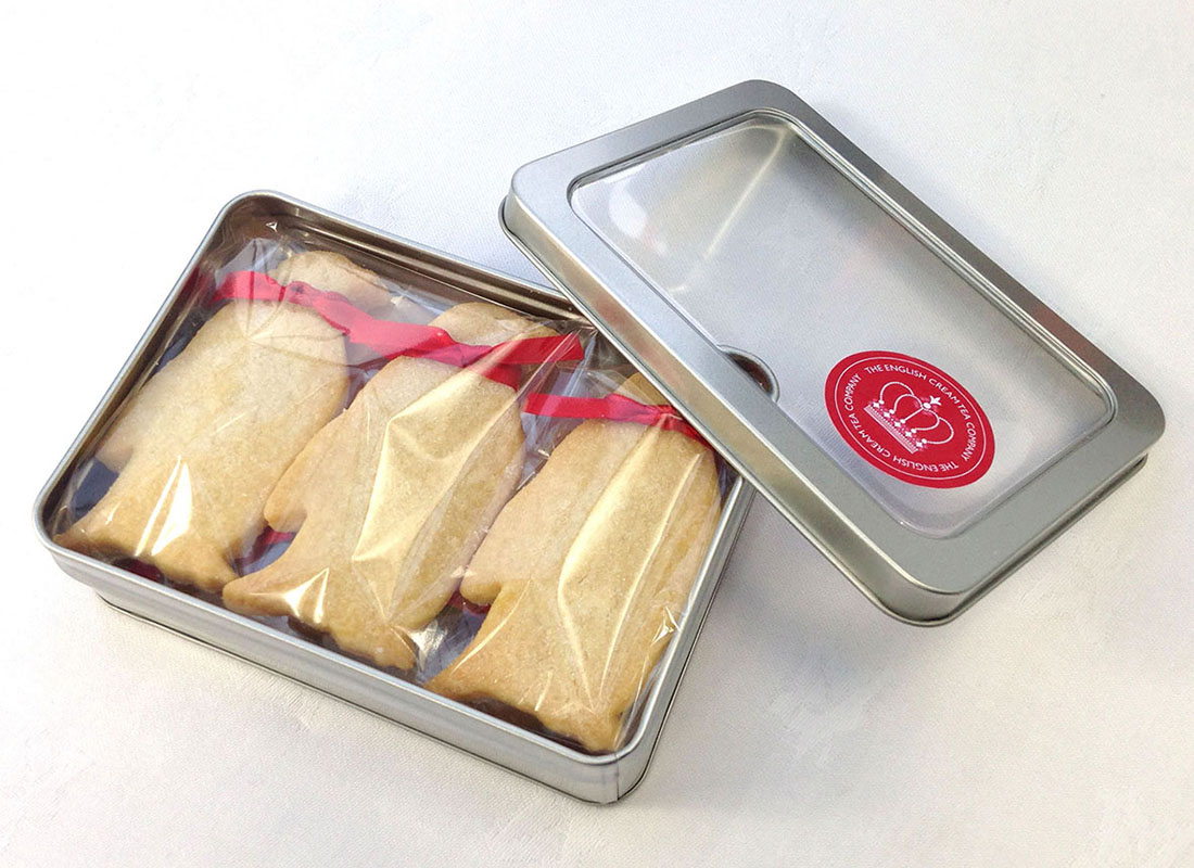 Gift tin of shortbread penguins, posted UK wide by The English Cream Tea Company
